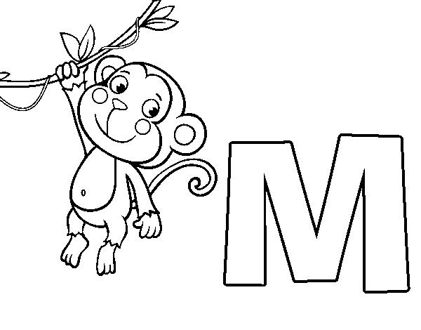 Dibujo de M de Mono para Colorear - Dibujos.net