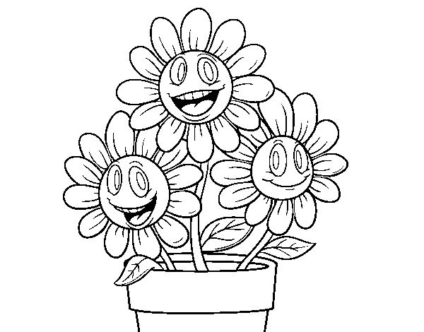 Dibujo de Maceta de flores para Colorear - Dibujos.net