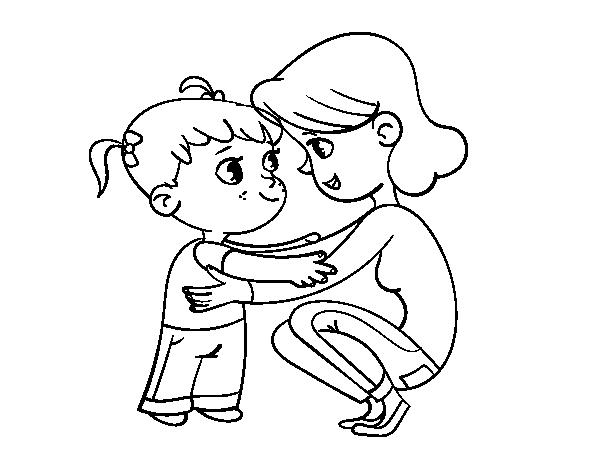 Dibujo De Madre Con Niña Para Colorear Dibujosnet