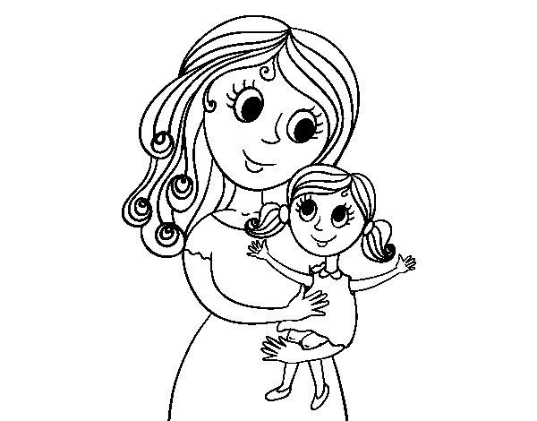 Dibujo de Madre con su hija para Colorear - Dibujos.net