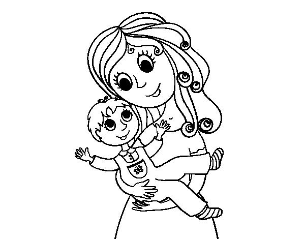 Dibujo de Madre con su hijo para Colorear - Dibujos.net