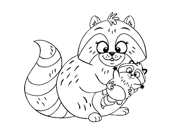 Dibujo de Madre mapache para Colorear - Dibujos.net