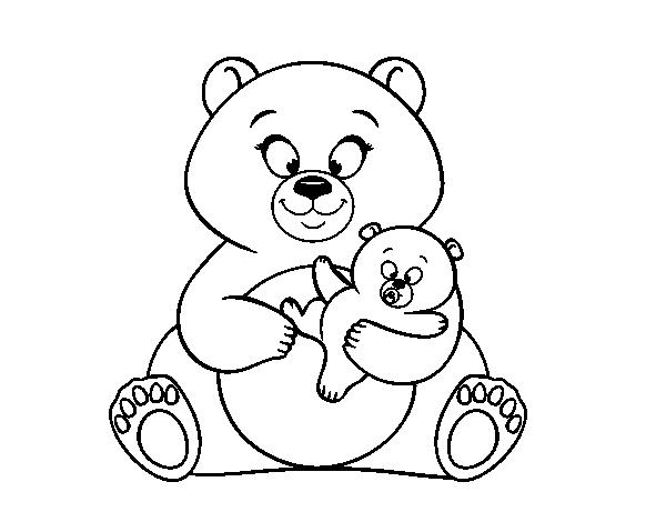 Dibujo De Madre Osa Y Osito Para Colorear Dibujosnet