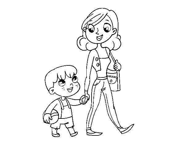 Dibujo de Madre paseando con niño para Colorear - Dibujos.net