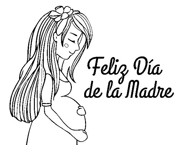 Dibujo de Mamá embarazada en el día de la madre para Colorear ...