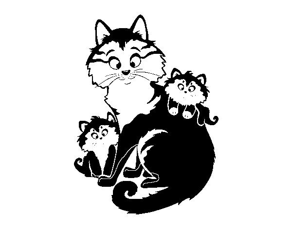Dibujos Para Colorear De Gatitos Bebes: Dibujo De Mamá Gata Y Gatitos Para Colorear