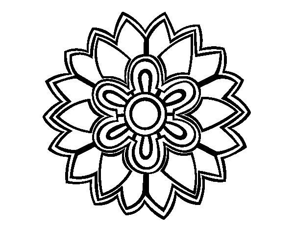 Dibujo de Mándala con forma de flor weiss para Colorear - Dibujos.net
