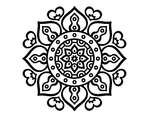 Dibujo De Mandala Corazones árabes Para Colorear Dibujosnet