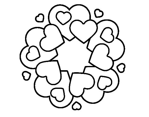 Dibujo de Mandala de corazones para Colorear - Dibujos.net
