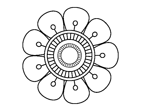 Dibujo de Mandala en forma de flor para Colorear - Dibujos.net