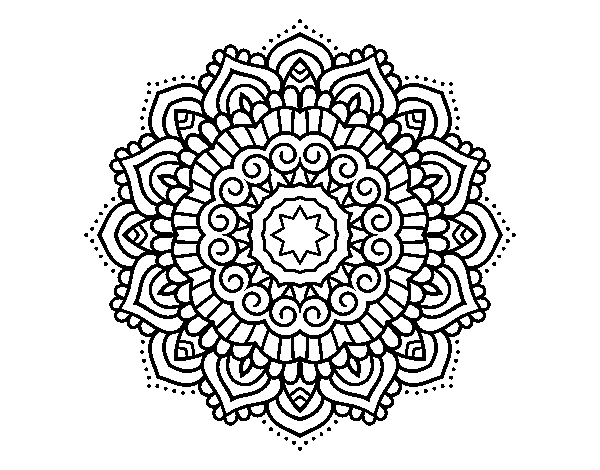 Dibujo De Mandala Estrella Decorada Para Colorear Dibujosnet
