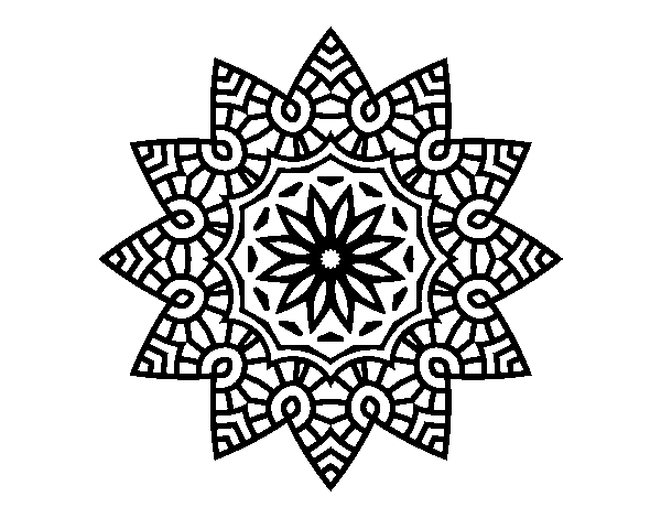 Dibujo De Mandala Estrella Floral Para Colorear Dibujosnet