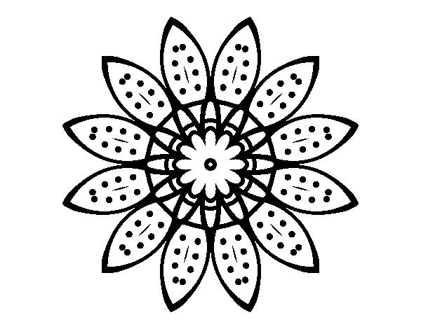 Dibujo de Mandala flor con pétalos para Colorear - Dibujos.net
