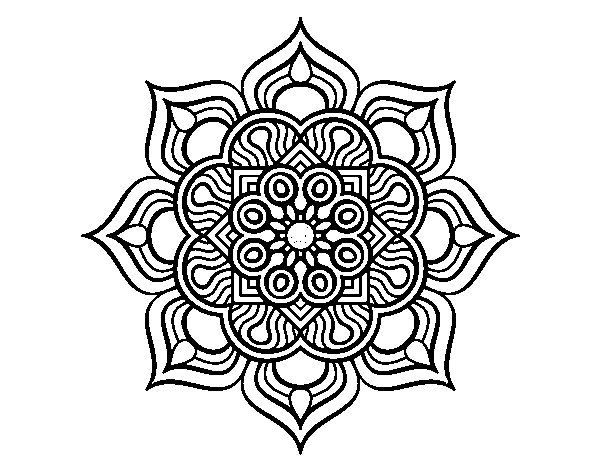 Dibujos De Mandalas: Dibujo De Mandala Flor De Fuego Para Colorear