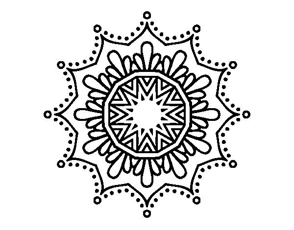 Dibujo de Mandala flor de nieve para Colorear - Dibujos.net