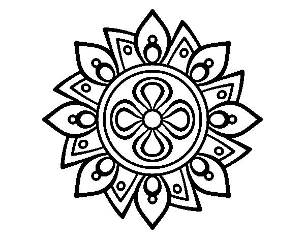 Dibujo de Mandala flor sencilla para Colorear - Dibujos.net