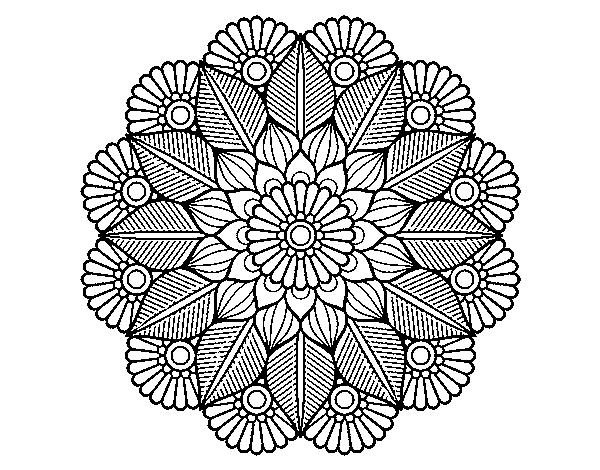 Colorear Mandalas Mandalas Dibujos Para Colorear Mandalas: Dibujo De Mandala Jardín Vegetal Para Colorear
