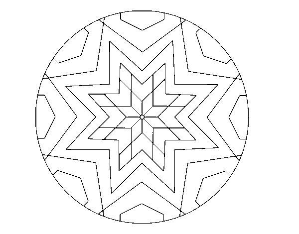 Dibujo De Mandala Mosaico Estrella Para Colorear Dibujosnet