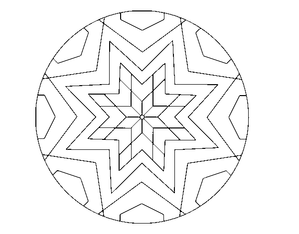 Dibujo de Mandala mosaico estrella para Colorear - Dibujos.net