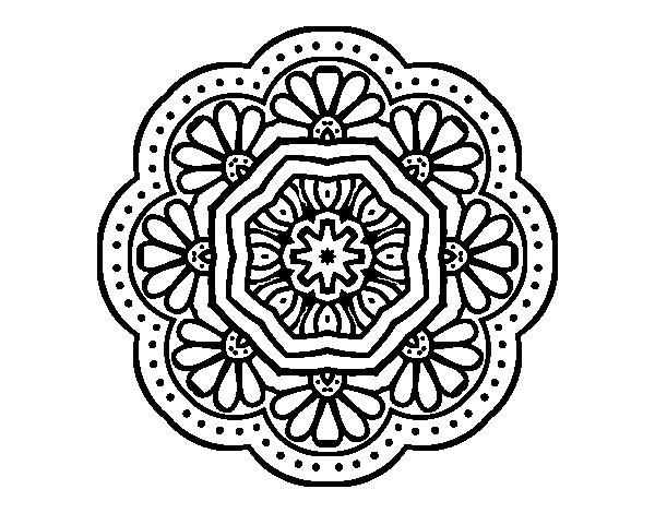 Dibujo de Mandala mosaico modernista para Colorear - Dibujos.net