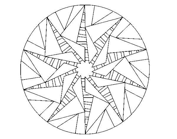 Dibujos Para Imprimir Y Colorear Mandalas: Dibujo De Mandala Sol Triangular Para Colorear