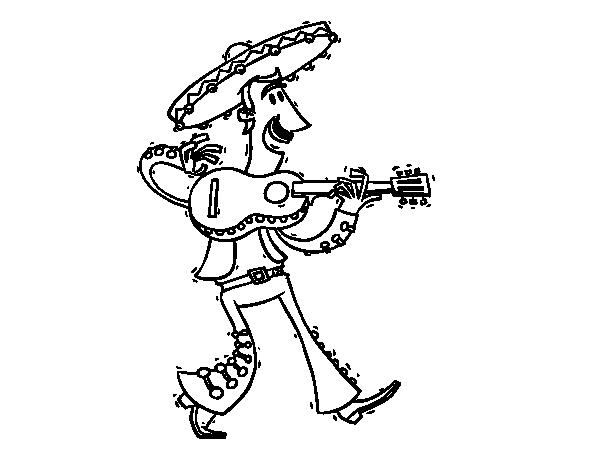 Dibujo de Mariachi con guitarra para Colorear - Dibujos.net