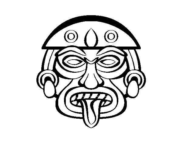 Dibujo de Máscara azteca para Colorear - Dibujos.net