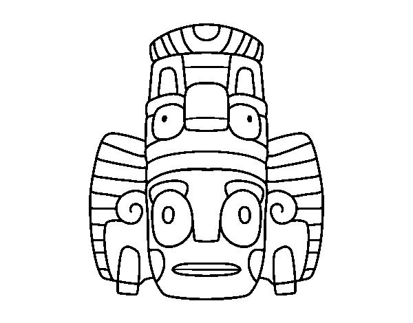 Dibujos De Las Culturas Del Mundo Para Colorear: Dibujo De Máscara Mexicana De Rituales Para Colorear