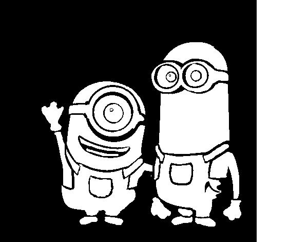 Dibujo de Minions - Carl y Kevin para Colorear - Dibujos.net