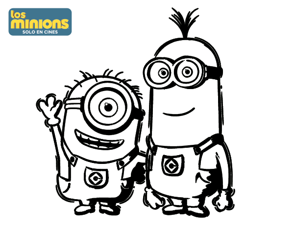 Dibujo De Minions Carl Y Kevin Para Colorear Dibujosnet