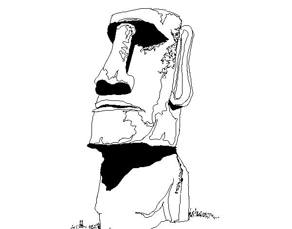 Dibujo de Moái de la Isla de Pascua para Colorear - Dibujos.net