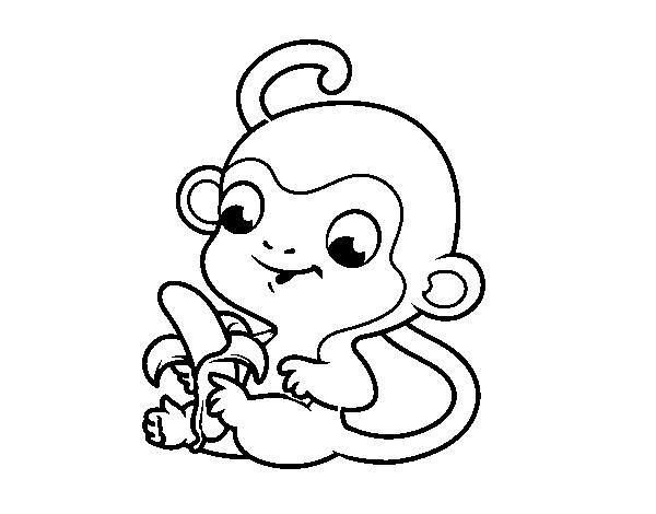 Dibujo de Monito con plátano para Colorear - Dibujos.net
