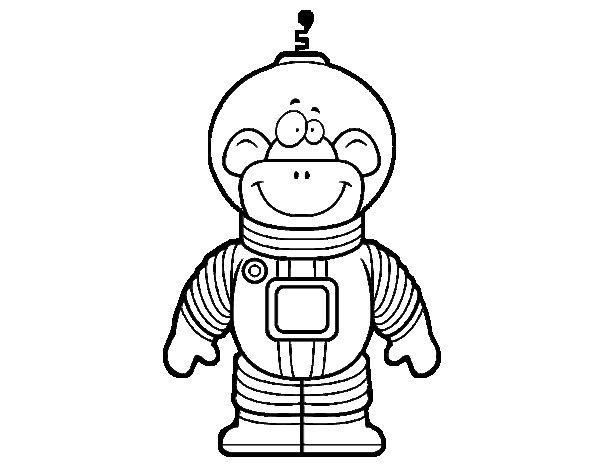 Dibujo de Mono espacial para Colorear - Dibujos.net