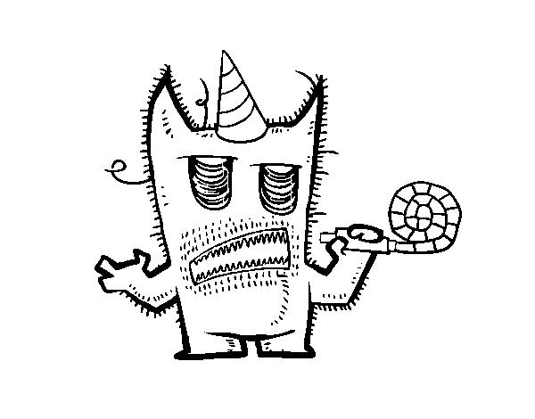 Dibujo de Monstruo celebrando su cumpleaños para Colorear - Dibujos.net
