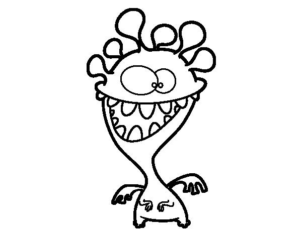 Dibujo de Monstruo con antenas para Colorear - Dibujos.net