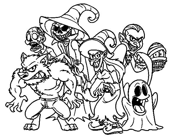 Dibujo de Monstruos de Halloween para Colorear - Dibujos.net