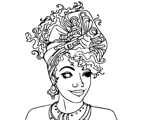 Dibujo de Mujer africana para Colorear - Dibujos.net