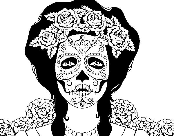 Dibujo De Mujer Calavera Mejicana Para Colorear Dibujosnet