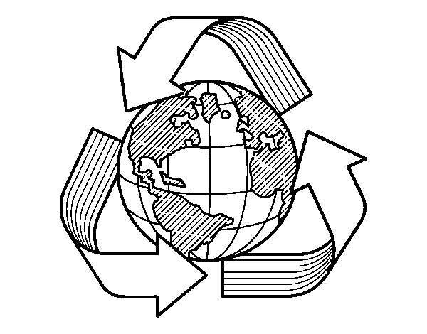 Dibujo De Mundo Reciclaje Para Colorear Dibujosnet