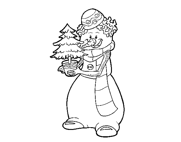 Muñeco De Nieve Dibujo: Dibujo De Muñeco De Nieve Con árbol De Navidad Para