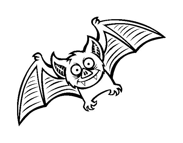 Dibujo de Murciélago simpático para Colorear - Dibujos.net