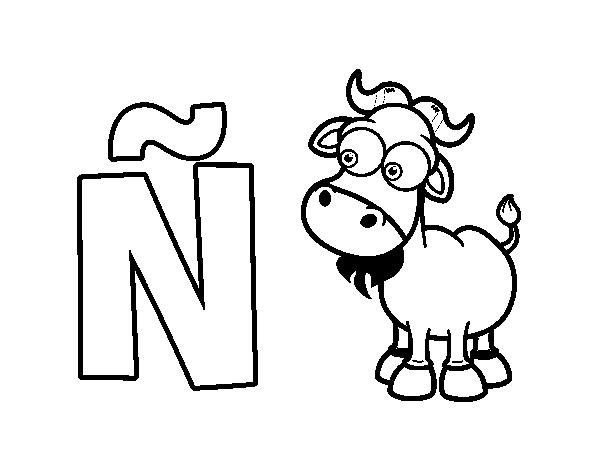 Dibujo de Ñ de Ñu para Colorear - Dibujos.net