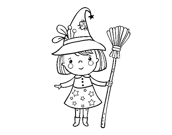 Dibujo de ni a bruja de halloween para colorear - Como pintar a una nina de bruja para halloween ...