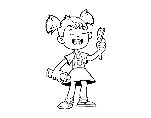 Dibujo de Niña con cepillo de dientes para Colorear - Dibujos.net