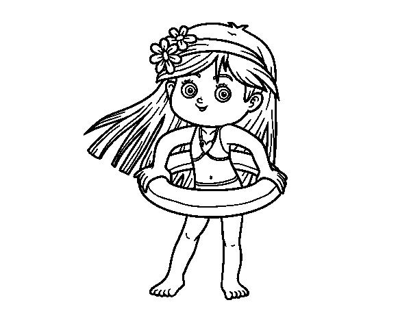Dibujo de Niña con flotador para Colorear - Dibujos.net