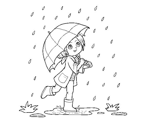 Dibujo de Niña con paraguas bajo la lluvia para Colorear - Dibujos.net