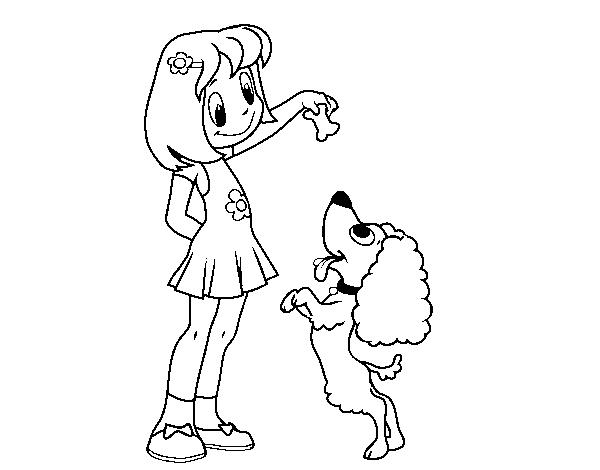 Imagenes Para Colorear Para Niña: Dibujo De Niña Con Perrito Para Colorear