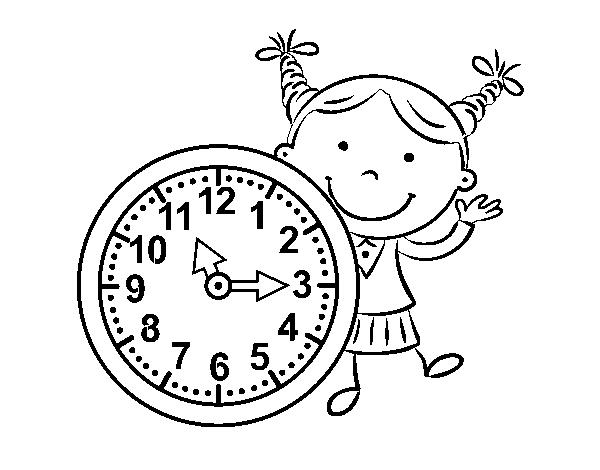 Dibujo de Niña con reloj para Colorear   Dibujos.net