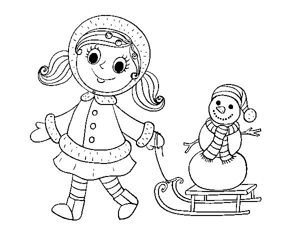Dibujo de Niña con trineo y muñeco de nieve para Colorear - Dibujos.net