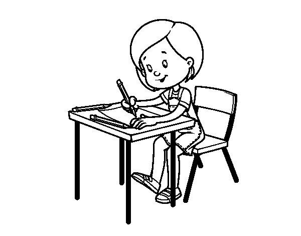 Imagenes Para Colorear Para Niña: Dibujo De Niña En Su Pupitre Para Colorear